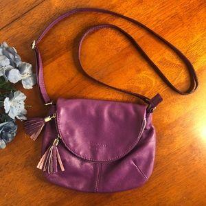 Vera Pelle Purple Italian Leather Crossbody